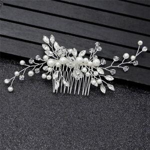 Flower Wedding Bridal Hair accessories Comb Clips piece Crystal Diamante Pea UK