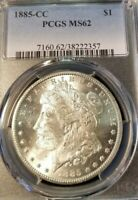 1885 CC MORGAN SILVER DOLLAR $1 PCGS MS 62 BETTER DATE CARSON CITY BRIGHT LUSTER