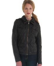 EUC Superdry Ramona Moto Zip Women's Black Leather Jacket S Small