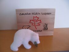 HAND CARVED CANADIAN Grizzly Bear ORNAMENT IN BOX