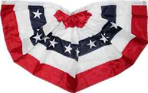 """2x4 2'x4' 24 x 48"""" Sewn Embroidered Pleated USA American Fan Flag Banner Bunting"""