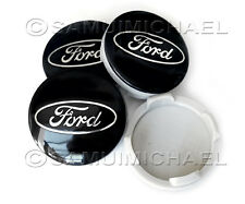 4 x BLACK FORD ALLOY WHEEL CENTRE CAPS 54MM - FOCUS/MONDEO/FIESTA/KA & OTHERS