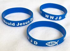 3 Jesus WWJD Bracelet Fundraiser Wristband  Rubber/Silicone Arm Band Blue White