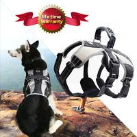 Large Dog Harness No Pull for Medium Large Pet Adjustable Reflective,Black&Greay