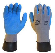 120 PAIRS Blue Premium Gray 13 Gauge Crinkle Palm Latex Work Glove - Medium
