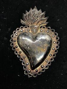 Cuore ex voto design argento vintage milagros 18x12 cm pgr sacrocuore design