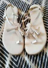 COUNTRY ROAD White Leather Flats Sandals Tassels Size 42 Made In Italy Boho