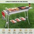 IKayaa Stainless Steel Barbecue Charcoal Grill Kabob BBQ Grill W/Frying Pan F5O8 photo
