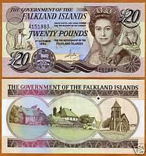 Falkland Islands, 20 pounds, 1984, QEII, P-15, UNC