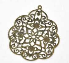 30 Bronze Tone Filigree Flower Wraps Connector Embellishments Findings 58x48mm