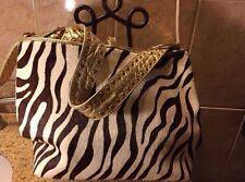EJZ Brown & White Zebra Print Pony And Gold Leather Trim Purse