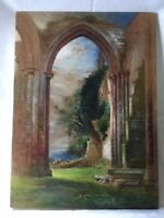 Antique Watercolour Ruined Abbey dated 1866 Paper on board