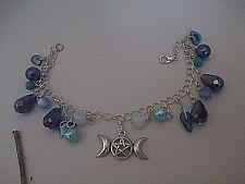 Un magnifique Wicca Pagan Triple Lune Pentagram bracelet & Turquoise, MOP + Opales