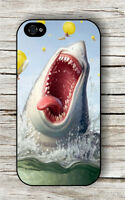 WHITE SHARK FUNNY JUMP IN CARTOON CASE FOR iPHONE 4 5 5C 6 -sed2Z