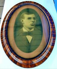 Antique Tiger Oak Oval Picture Frame With Glass Young Man 23 x 17