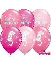 """5 x Minnie Mouse Balloons - 11"""" latex Qualatex Birthday Party"""