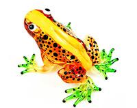 Lampwork COLLECTIBLE MINIATURE HAND BLOWN Art GLASS New Light Brown Frog FIGURIN