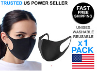 Black Face Mask Stretch Thin Cover Mouth Washable Reusable Unisex US Seller