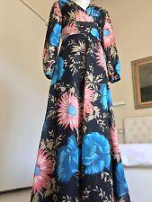 Stupendo Abito Lungo Maxi Dress Vintage Originale Anni '70 Nero Floreale Uk 10