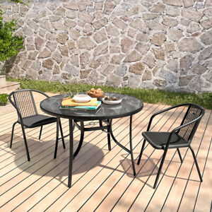 105cm Large Round Coffee Dining Table Stacking Chair Set Bistro Patio Garden UK