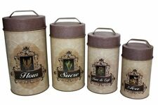 Set Of 4 Tin Food Safe French English Canisters Flour Sugar Coffee Tea