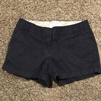 J. Crew Womens Size 2 Navy Blue Chino Shorts Cotton A42