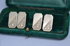 Vintage 9ct Gold Hand engraved cufflinks with a stunning design 5.64g 1862 #B568
