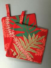 Handmade Hawaiian Quilted Potholder floral fern red polyester blend