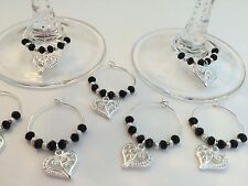 50 Black Crystal With Silver Heart Wine Glass Charms. Wedding, Favours, Party