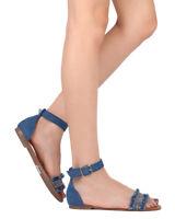 New Women Breckelles Sara-29 Denim Beaded Open Toe Ankle Strap Flat Sandal