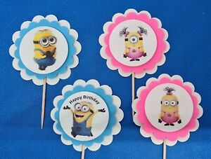 24 Minions Personalized Cupcake Toppers Birthday Party