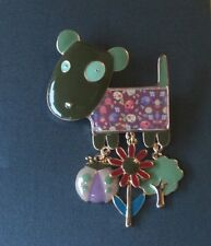 Cute Enamelled Dog Brooch With Moving Charms