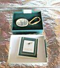 Vintage Buck Deer Gold Metal Faux SCRIMSHAW Art Barlow Keychain MADE IN USA