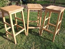 Vintage science lab stool, Beech wood set of three.