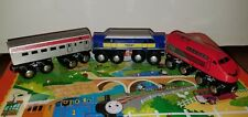 Toys R Us / magnetic engine silver red blue Wooden Train Lot of 3