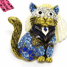 Cat Crystal Charm Brooch Pin Gifts Hot Betsey Johnson Blue Enamel Cute Royal