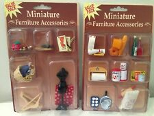 LOT OF 2 sets of MINIATURE DOLLHOUSE FURNITURE ACCESSORIES NEW by Westrim Crafts