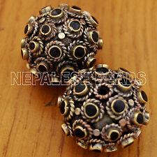 Howlite Black Brass 2 Beads Tibetan Nepalese Handmade Tibet Nepal BD519