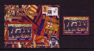 URUGUAY - 1999 SOCCER F.C. BARCELONA 100th ANNIVERSARY SOUV. SHEET / SINGLES MNH