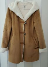 WOMEN BNNW BILLABONG CAMEL COLOUR SHORT COAT WITH HOOD SIZE 8