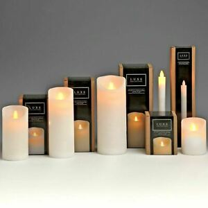 Luxe Collection White Amber LED Flickering Flame Wax Pillar Candle with Timer