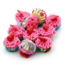 4x Miniature Rosa espolvorear con rojo Corazón Cupcakes con papel de colores mezclados cupse