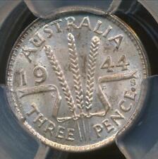 Australia, 1944(s) Threepence, 3d, George VI (Silver) - PCGS MS64 (Ch-Unc)