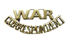 War Correspondent Shoulder Title Brass Metal