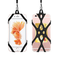 Silicone Lanyard Case Cover Holder Sling Necklace Wrist Strap iPhone Samsung