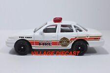 "2009 Matchbox ""Fire"" Ford Crown Victoria WHITE / TRI-SPOKE WHEEL / MINT"