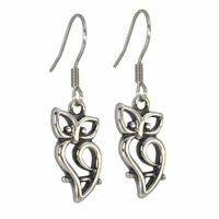 Owl Earrings Womens Hypoallergenic Surgical Stainless Steel Dangle Charm Hook