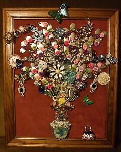 Vintage Jewelry Art Bouquet, signed and framed