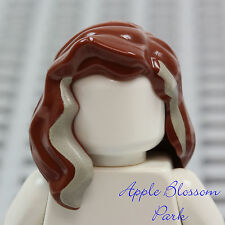 NEW Lego Female Minifig Long BROWN HAIR Girl Wavy Head Gear w/Tan High Lights