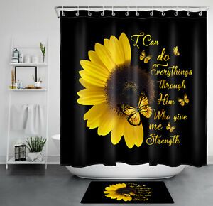 Black Backdrop Sunflower Butterfly Funny Words Shower Curtain Set Bathroom Decor